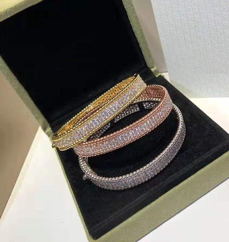 Marque Pure 925 bijoux en argent pour les femmes couleur or pleine pierre bracelet en or Rose trèfle bracelet bijoux de mariage autour de perles bracelet - 2