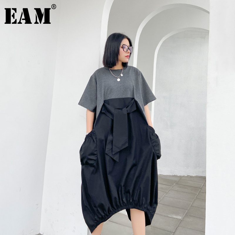 [EAM] Women Gray Contrast Color Irregular Big Size Dress New Round Neck Short Sleeve Loose Fit Fashion Spring Summer 2020 1W063