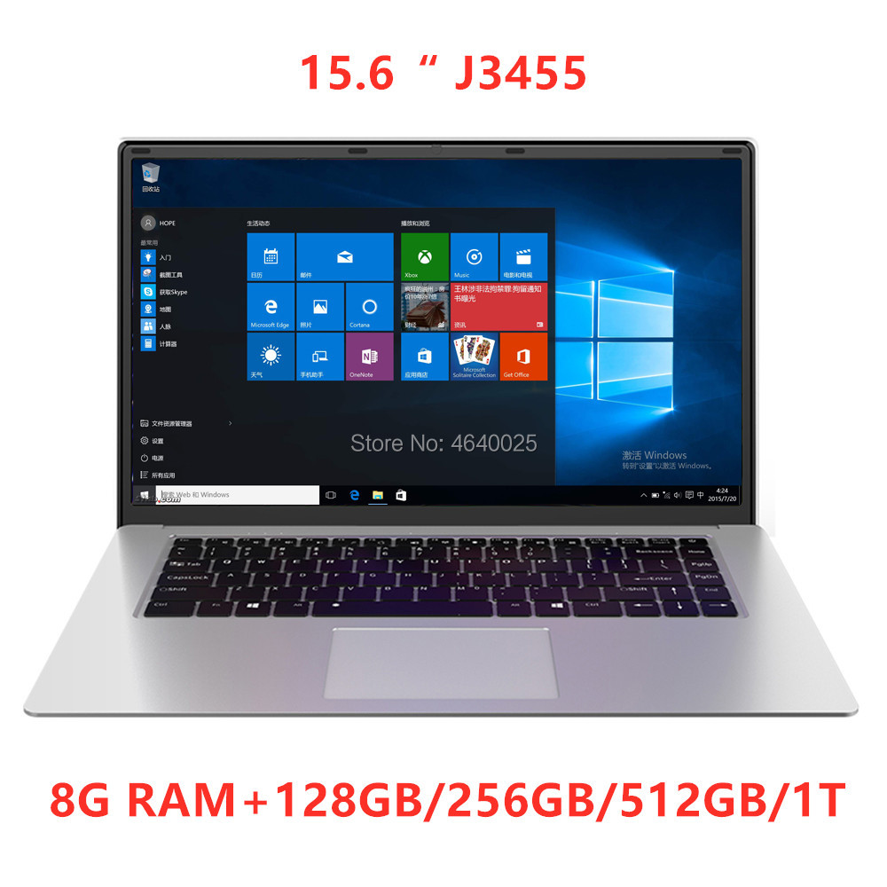 15.6 inch IPS 1920x1080 J3455 Laptop Quad Core Notebook Computer 8GB +128GB 256GB 512GB 1T SSD ROM Windows 10 Laptop Ultrabook
