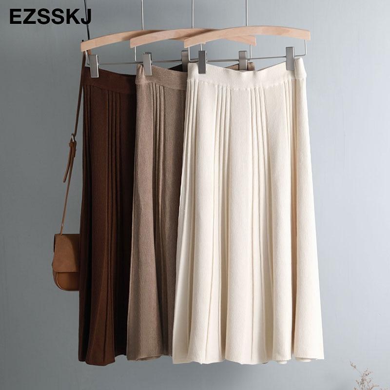 Vintage Winter Women Thick Sweater Skirt Elastic High Waist Pleated Midi Knitted Skirt A-line Female Solid Elegant Skirts