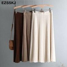 Vintage Winter Women thick sweater skirt Elastic High Waist Pleated Midi knitted Skirt A line female solid elegant Skirts