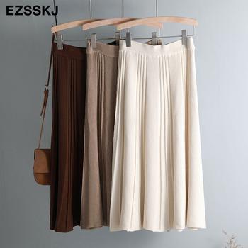 W stylu Vintage zima kobiety gruby sweter spódnica elastyczna wysokiej talii plisowana Midi spódnica z dzianiny linii kobiet stałe eleganckie spódnice tanie i dobre opinie Ezsskj COTTON Naturalne -Line Na co dzień NONE Kolan