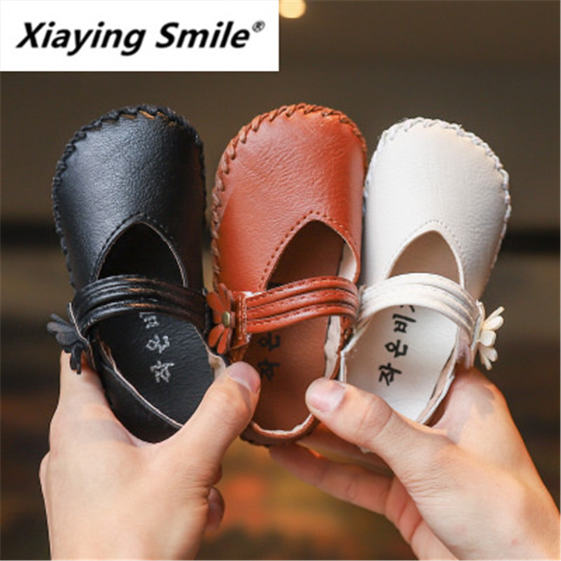 Xiaying Girl Single Shoes Spring and Autumn 2019 New Children Princess Shoes Small leather shoes soft sole soybean milk shoes