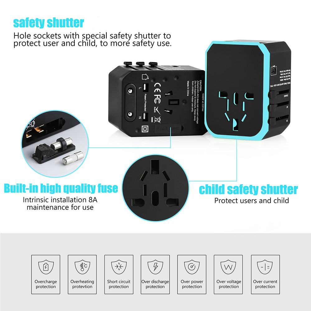 Image 2 - 5USB travel adapter Universal Power Adapter Charger worldwide adaptor wall Electric Plugs Sockets Converter for mobile phonesInternational Plug Adaptor   -