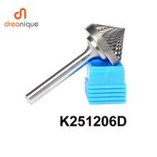 Coupeuse de lime en carbure de tungstène, 90 degrés, 25*12mm, outils de meulage et abrasifs, outils de fraisage à tige, 6mm, K251206D