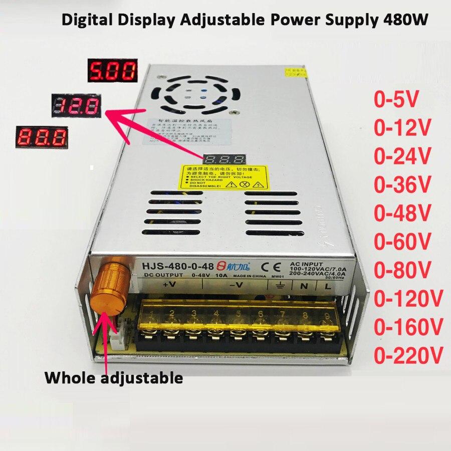 480W PSU Switching Power Supply 110/220V AC to 5V 12V 24V 36V 48V 60V 80V 120V 160V 220V DC Voltage adjustable Transformer-0