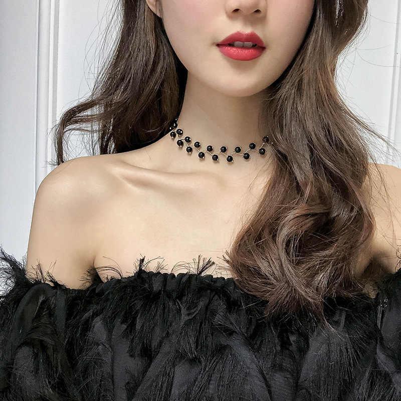 Ngọc Trai Choker Ban Đầu Vòng Đeo Cổ Cho Nữ Đen Vòng Cổ Choker Collier Femme 2020 Dây Chuyền Trang Sức Dây Chuyền Thời Trang Gothic