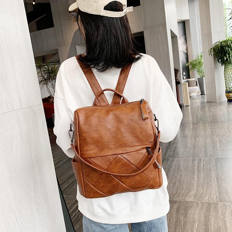 Image 2 - Fashion Women Backpack High Quality Soft Leather School Backpacks for girls Female Casual Large Capacity Vintage Shoulder BagsBackpacks   -