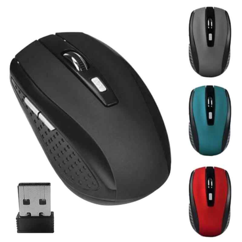 Vodool Portabel 2.4 GHZ Wireless Optical Mouse 6 Tombol USB Receiver 2000 DPI Mouse untuk Laptop Notebook PC Komputer