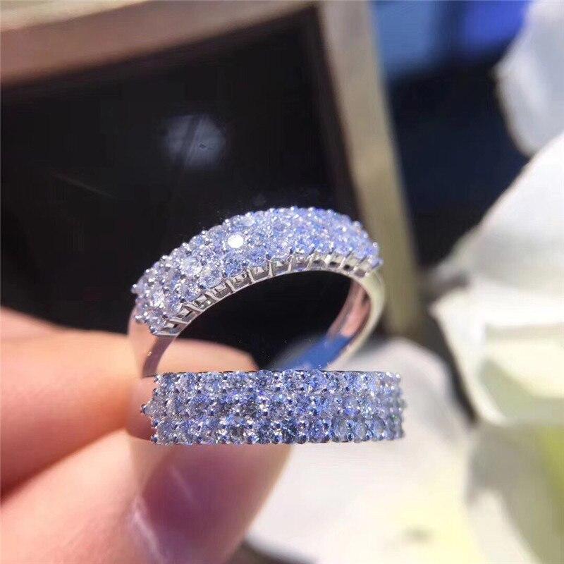 Choucong éternité promesse anneau pavé AAAAA cz pierre 925 en argent Sterling fiançailles bague de mariage anneaux pour femmes hommes bijoux de fête