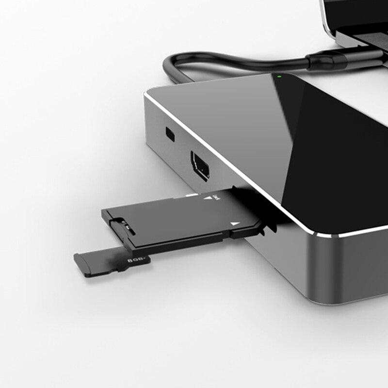 8 em 1 USB-C hub tipo-c multiport