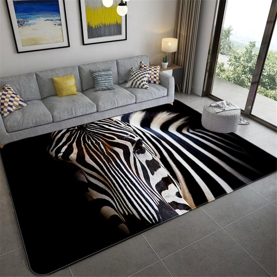 Роскошный большой ковер с рисунком черной зебры для гостиной, европейский и американский ковер с принтом животных, мягкий коврик для ванной комнаты из губки|Ковер|   | АлиЭкспресс