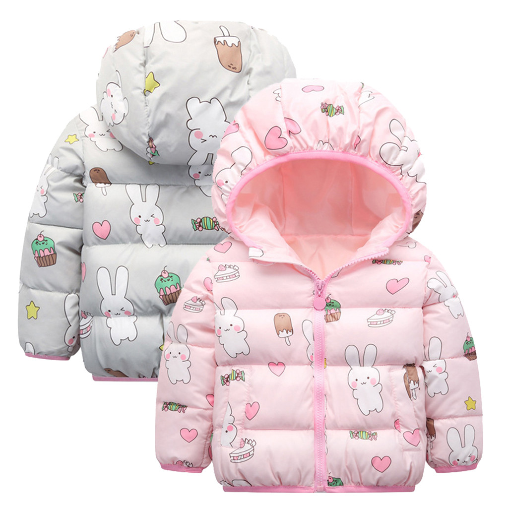 Cute Kids Girls Jacket 2019 Autumn Winter Girls Clothes Baby Thick Coat Children Toddler Warm Outerwear Hooded Kids Clothing