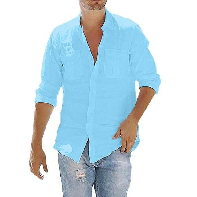 KANCOOLD 2019 New Fashion Men Shirt Long Sleeve Cotton Solid leisure Basic Shirt Men Tops Leisure Fitness Pullovers Dropship 725