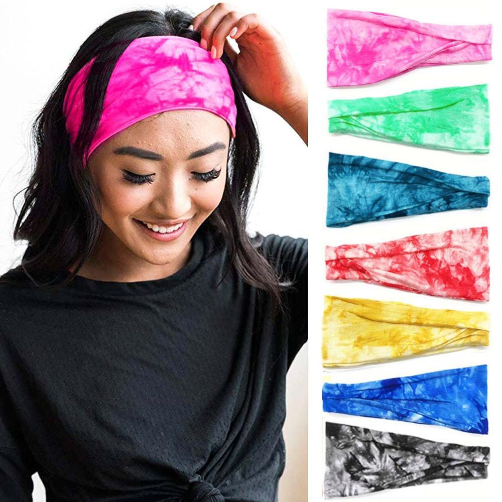 Tie Dye Cycling Yoga Sport Sweat Headband Men Sweatband For Men Women Yoga Hair Bands Head Sweat Bands Sports Safety