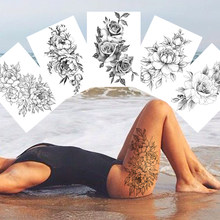 Tatuajes temporales de flores sexys para arte corporal para mujer, pegatinas realistas para piernas y brazos, resistentes al agua, Rosas Negras falsas