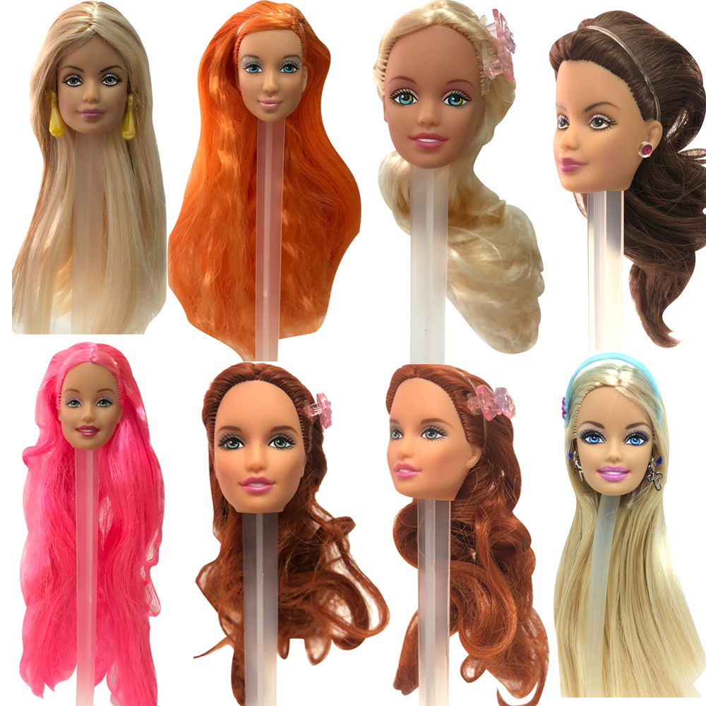 NK Mix Style Doll Head With Colorful Hait For 30 CM Doll Fit  For 1/6 Doll Accessories  DIY Gift For Girls'  Doll JJ