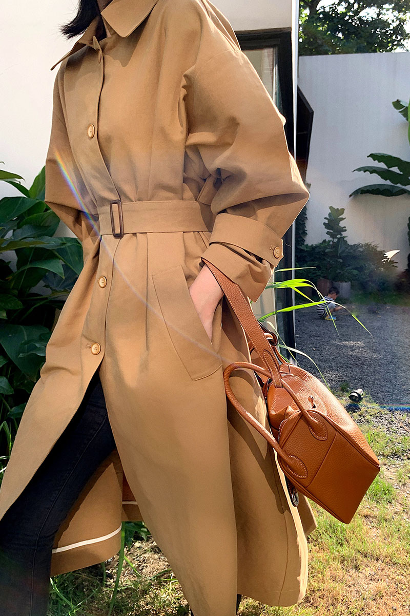 Trench   Coat with Belt Casual women long Outerwear loose clothes for lady spring autumn fashion Chic   Trench   Coat