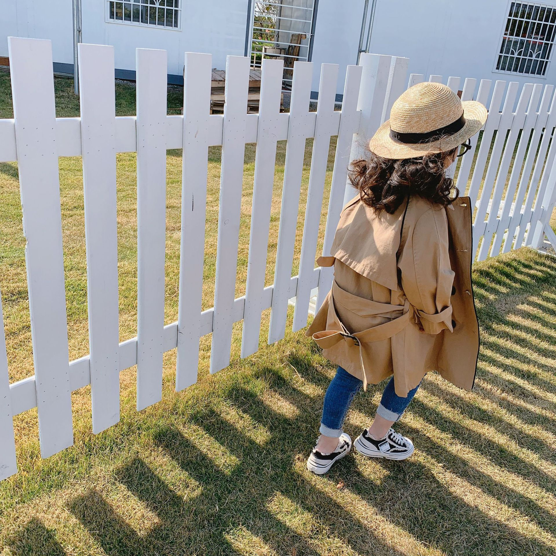 Spring New Arrival Korean Style Cotton Pure Color Fashion Casual Long Sleeve All-match Long Windbreak Coat For Cool Baby Girls