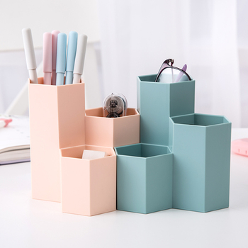 Creative Multifunctional 3 Grid  Pen Holder Student Stationery Desktop Desk Multifunction Storage Box Student Office Supplies цена 2017