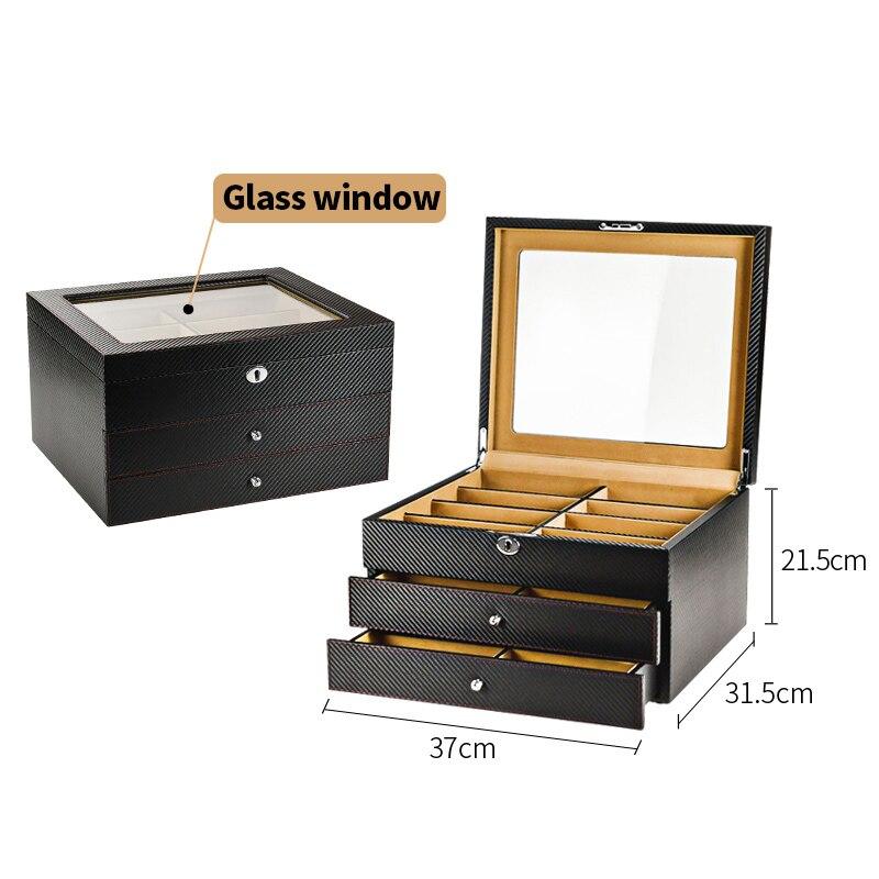 Роскошная коробка для очков 24 солнцезащитные очки коробки для хранения для очков Органайзер витрины для ювелирных украшений высококачественная искусственная кожа - Цвет: Black PU window S