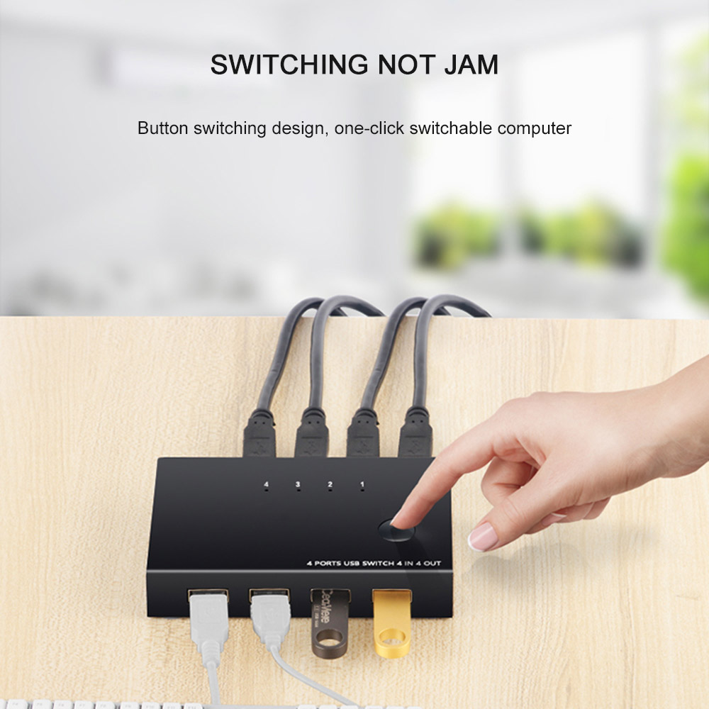 4 IN 4 Out USB Switcher For Keyboard Mouse Printer Computer Plug And Play 4 Ports USB KVM Switch Box USB Sharer Splitter Box