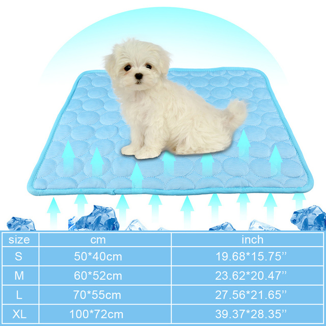 Summer Dog Cooling Mat Sky Blue Ice Pad Cool Pet Beds Sofa Cushion   6