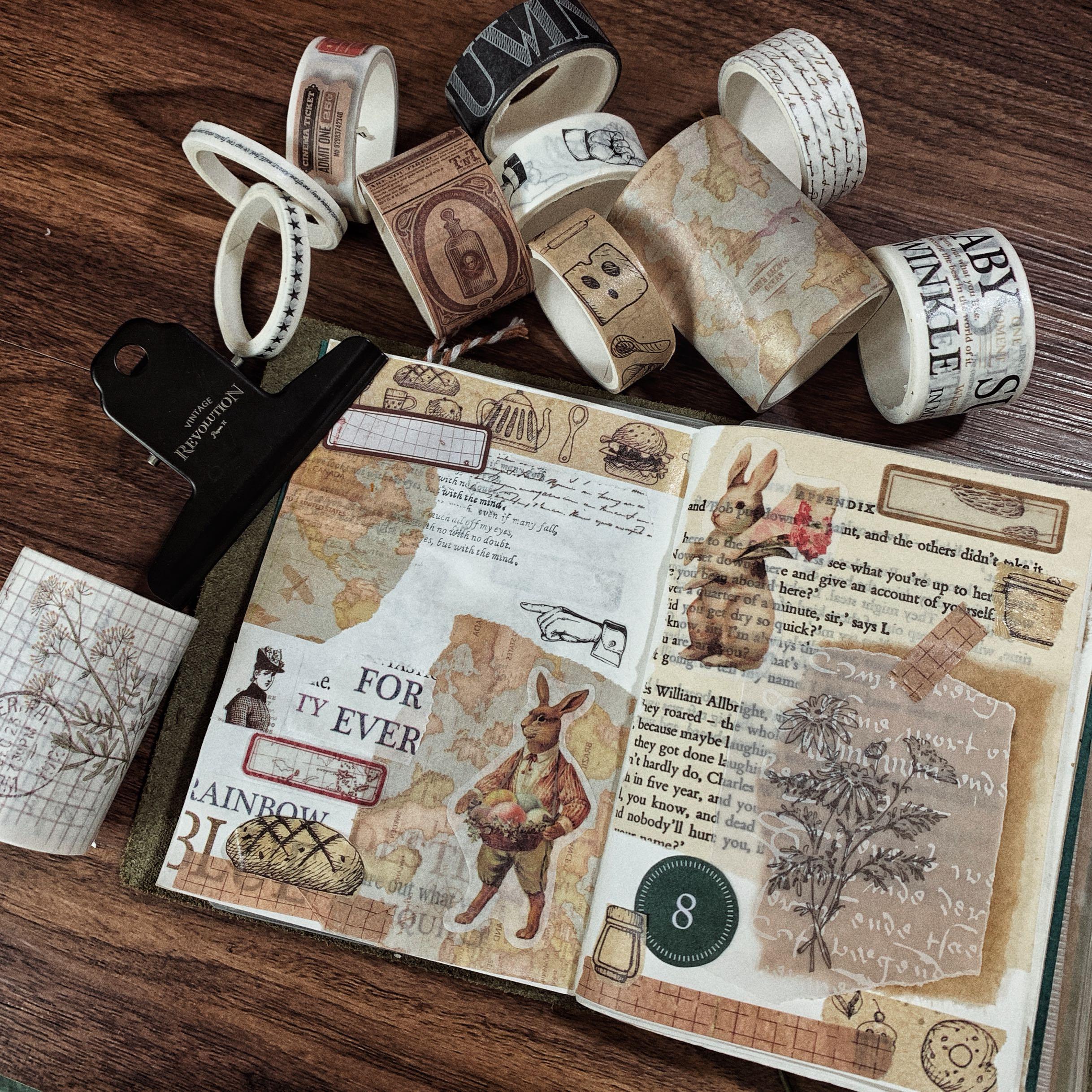 7rolls/box Vintage Kraft Paper Grid/Ticket/Map/English Manuscript/Number/Alphabet/Week Washi Tape DIY Scrapbooking Masking Tape