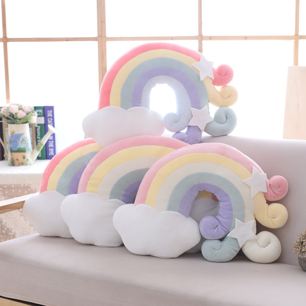 Baby Rainbow Plush Toys Fantastic Sky Series Pillow Stuffed Moon Shooting Star Soft Shell Cushion Girls Sleeping Pillow Decor