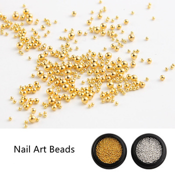 1.0MM to 2.0MM Silver Gold Nail Rhinestones Caviar Beads Micro Mini Gel Polish 3d Nail Art Jewelry Tip Nails Manicure Decoration image