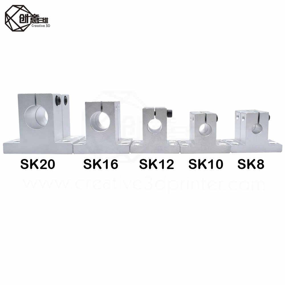 1pcs/lot 3D Printer Sliding part Accessories Brackets (SK8 SK10 SK12) 8mm aluminum linear Rod Rail Shaft Support CNC Router 3d
