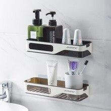 Fixado na parede do banheiro organizador prateleira cosméticos shampoo rack de armazenamento titular de plástico cozinha itens domésticos acessórios do banheiro