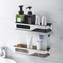 Wall Mounted Bathroom Organizer Shelf Cosmetic Shampoo Storage Rack Kitchen Plastic Holder Household Items Bathroom Accessories