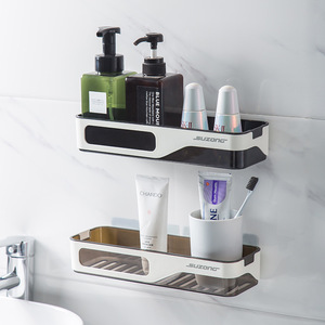 Image 1 - Wall Mounted Bathroom Organizer Shelf Cosmetic Shampoo Storage Rack Kitchen Plastic Holder Household Items Bathroom Accessories
