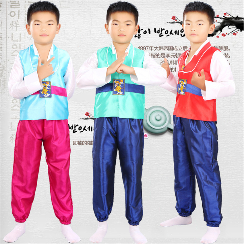 Traditional Korean Clothing For Boys Dance Costume Hanbok Dress Stage Performance Festival Outfit Clothes+Pant 110-150CM
