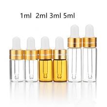 50 sztuk/partia 1ml 2ml 3ml 5ml butelka z kroplomierzem z bursztynem butelki z olejkiem eterycznym małe Serum perfumy brązowe próbki Test butelki