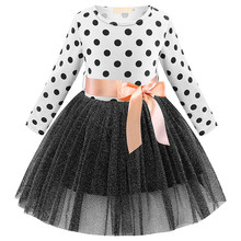 Baby Girl Clothes Dress 2019 Spring Autumn Girls Polka Dot Bow Princess Dress Girl Long Sleeve Flower Print Mesh Tutu For 1-7Y elogy dress with bow and polka dot print printed
