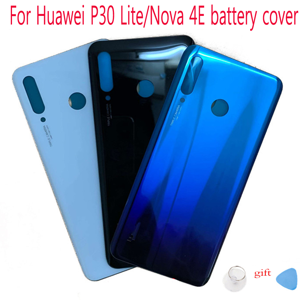 Glass Back <font><b>Battery</b></font> <font><b>Cover</b></font> For <font><b>Huawei</b></font> <font><b>P30</b></font> Lite MAR-LX1M MAR-AL00 MAR-TL00 Rear Door Housing Replacement for <font><b>huawei</b></font> Nova 4E image