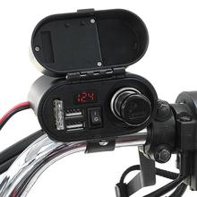 цена на 1 Pc Motorcycle USB Charger Dual Ports Time Display Output 5V/12V Waterproof Handlebar Cigarette Lighter Power Adapter Charger