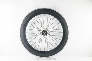 1pcs New 700C 80mm clincher rim Road Track Fixed Gear bicycle carbon bike wheelset with alloy brake surface aero spoke Free ship|bike wheelset|carbon bike wheelsetrim road -