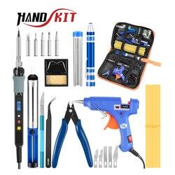 Handskit Digital soldador estaño soldador eléctrico de soldadura de hierro Kit de soldadura eléctrico de hierro herramientas de regulación 220V 80W 60W pistola de pegamento destornillador de Stripper
