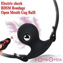 Elektrik çarpması dahili çelik top çift silikon Gag ağız fiş topu SM yetişkin oyunu Slave seks oyuncak kadınlar egzotik aksesuarları