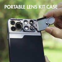 UCable yeni 5 in 1 telefon Lens çantası seti iphone için kılıf 11 Pro Max 4K süper HD makro Lens CPL balıkgözü telefoto Lens telefon kılıfı