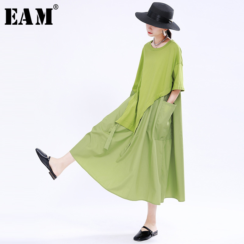 [EAM] Women Green Split Drawstring Big Size Dress New Round Neck Half Sleeve Loose Fit Fashion Tide Spring Summer 2020 1U501