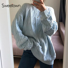 Sweetown Geometric Pattern Long Sleeve Knitted Sweater Women Solid Knit Jumpers Oversized Knitwear Autumn Blue Pullovers