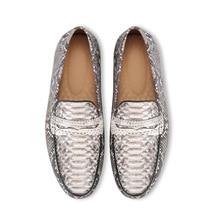 Мужские модельные туфли на плоской подошве, из натуральной кожи питона, с мягкой резиновой подошвой, под змеиную кожу