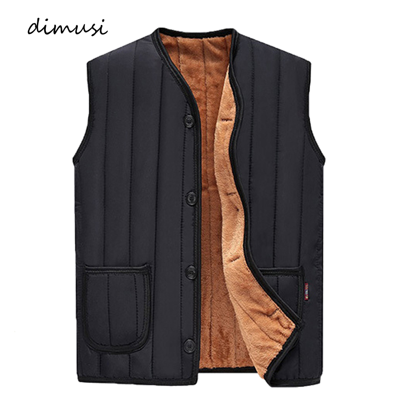 DIMUSI Winter Men Vests Fleece Warm Waistcoat Man Outwear Casual Thermal Soft Vests Thick Windreaker Sleeveless Jackets Clothing