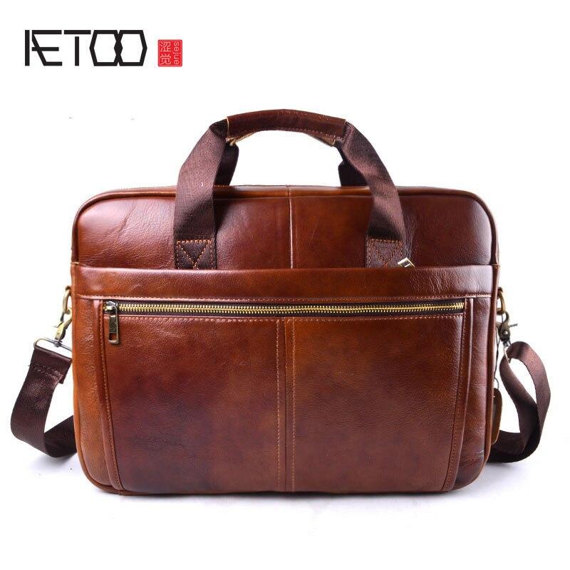 AETOO Brand Genuine Cowhide Leather Mens Business Briefcase Laptop Bags Men's Travel Bag Portfolio Men Shoulder Bag Man Handbag