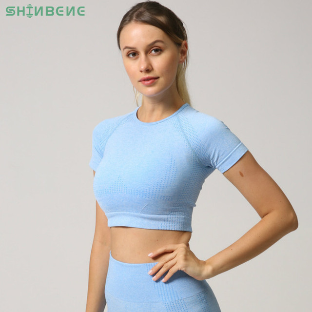 $ US $16.10 SHINBENE NEW COLOR Seamless Sport Set Women Fitness Workout Short-Sleeve Shirts High Waist Gym Shorts Sportswear Sold Separately