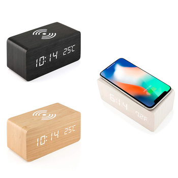 NEW-Wooden Alarm Clock With Qi Wireless Charging Pad Compatible With For Iphone Samsung Wood Led Digital Clock Sound Control Fun